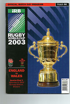 2003 Rugby World Cup England V Wales Quarter-Final Programme Excellent Cond.