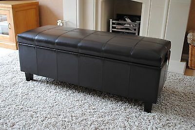 NEW Brown Real Leather Storage Bench Seat Footstool