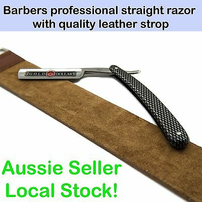 Barber Straight Razor Gold Dollar 208 with Genuine Leather Strop Belt Cut Throat