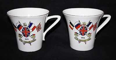 Sutherland China - 1914 WW1 For Freedoms Cause - A Pair of Mugs - vgc