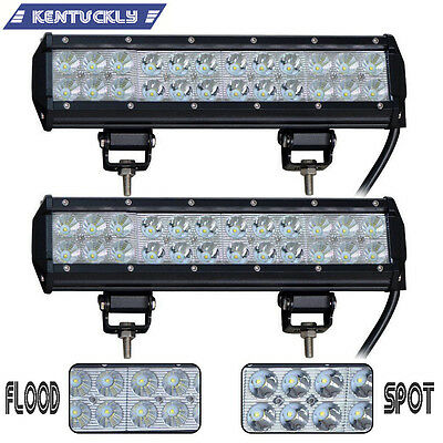 Pair 72W 12 INCH LED LIGHT BAR COMBO OFFROAD JEEP TRUCK BOAT SUV 4WD PICKUP