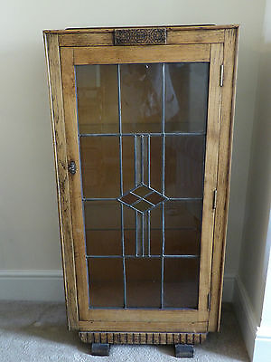 Pale Oak Glass Cabinet - Stained Glass Door - Solid Wood