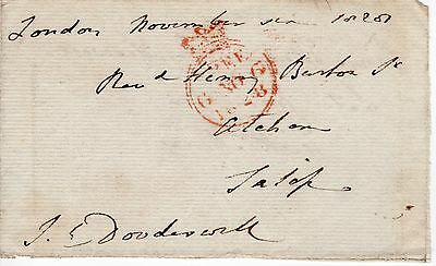 """UK King George 4th 1820-30 """" Member of Parliament Free post front"""", 1828 (37)"""