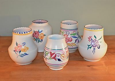 5 Vintage Poole Pottery Small Vases