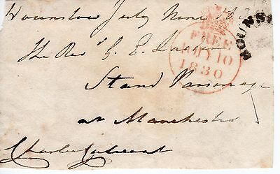 """UK King George 4th 1820-30 """" Member of Parliament Free post front"""", 1830 (45)"""