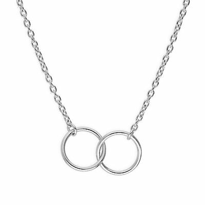 "925 Real Sterling Silver Fine Belcher Chain Karma Circles Necklace 18 "" Inches"