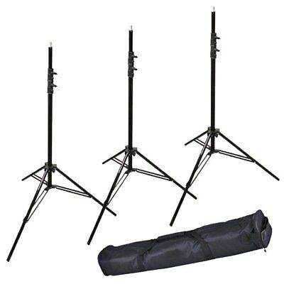 3X Victory 303 Aluminum 2.6M Heavy Duty Spring Cushioned Light Stand + Carry Bag