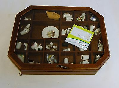 Selection Of Thimbles & Ephemera In Wood/glass Incl Display Case #4.