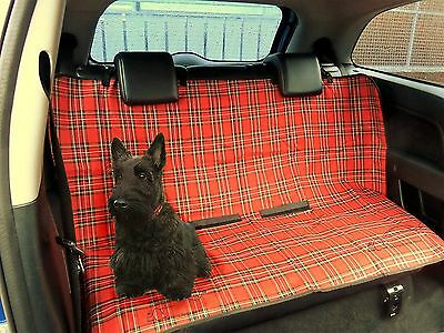 Protective Dog/Pet Cover Blanket For Rear Car Seat, RED SCOTISH TARTAN / PLAID