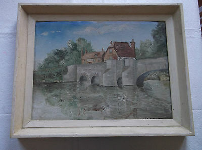 FRAMED OIL ON BOARD PAINTING signed T.W.E.DUNKLEY A STONE BRIDGE OVER A RIVER