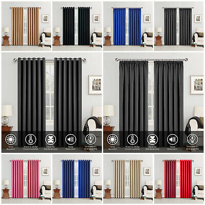 THERMAL BLACKOUT CURTAINS Eyelet RingTop OR Pencil Pleat with FREE Tie backs