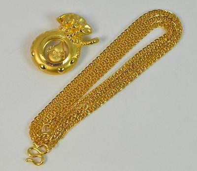 """Stunning 24ct Gold Chinese 17"""" Necklace & Pendant Set d1390"""