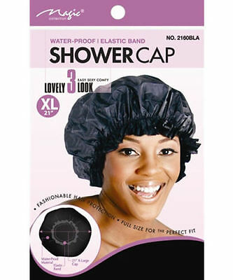 "Magic Collection Water Proof -Elastic Band Shower Cap X-Large 21""  Black (2160)"