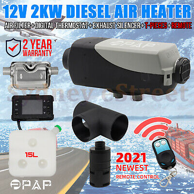 PPAP™ 12V 2KW Diesel Air Heater Tank Digital Thermostat Silencer T-Piece Remote