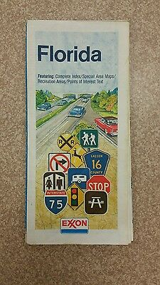 1986 Exxon Florida Vintage Road Map folded w/Tiger Tips