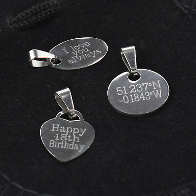 Personalised Engraved Metal Tags, Stainless Steel, Discs, Jewellery charms