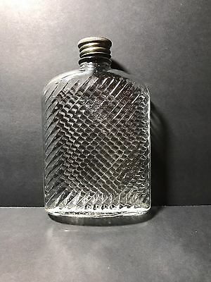 Universal Feb 8 1927 Pat'd Clear Glass Pint Flask with Cork Lined Screw Top