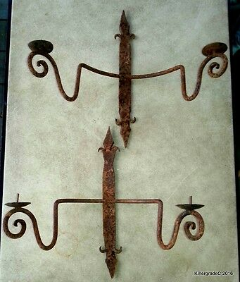 Old Pair Rusty Iron Candle Sconces  2