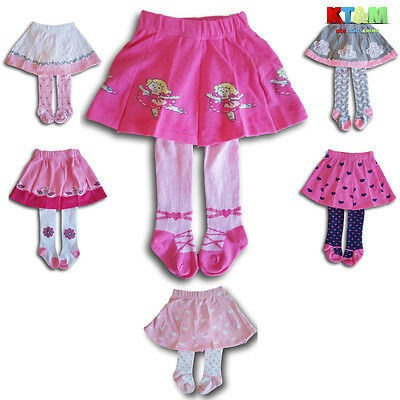 New Girl Baby Toddler Children 2 in 1 Cotton Skirt With Tights Size 6M -4Years