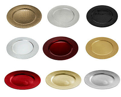 Pack Set Of 6 Xmas Dinner Table Festive Decoration Charger Plates Christmas
