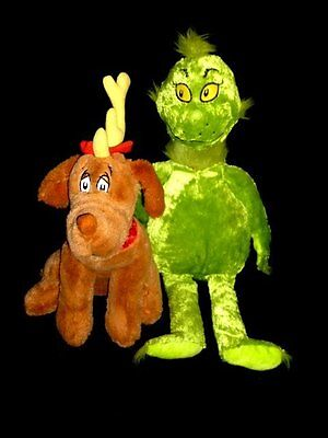 """Kohls Dr Seuss Grinch 21"""" & Max Dog 12"""" - How The Grinch Stole Christmas"""