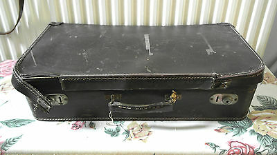 vintage suitcase battered british railways label fibre