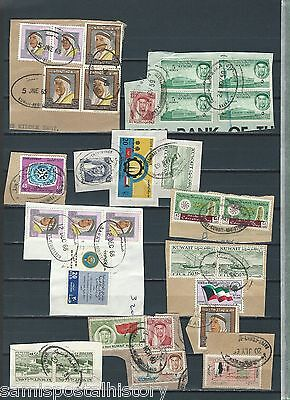 Middle East Kuwait selection of early stamps on piece - 4 scans