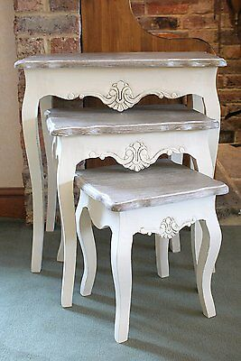 Devon Nest of 3 Tables in French Country Style Shabby Chic