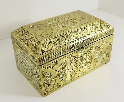 Antique Islamic Brass Box Syrian Ottoman Cairo Ware