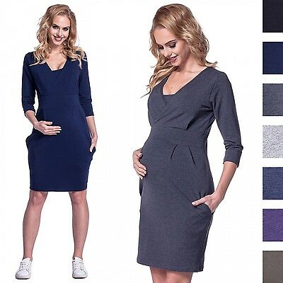 Happy Mama. Women's Maternity Nursing Sweatshirt Dress 3/4 Sleeves Pockets. 055p