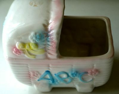 G C Bell Ceramic Baby Buggy/5 1/2 Inches Long/3 1/4 Inches Wide/White/Pink/Blue