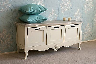 Devon Wooden Storage Bench in French Style Shabby Chic Cream Painted Drawers