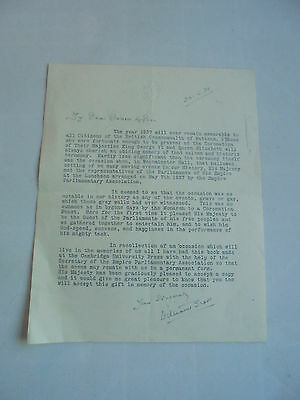 1938 William Brass Mp Clitheroe Autographed Letter House Of Commons