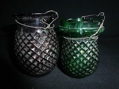 Two Victorian Glass Fairy Lights Candle Holder
