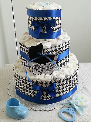 3 Tier Blue Black & White Houndstooth Diaper Cake Baby Shower Gift Centerpiece