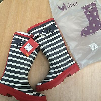 New Joules junior wellies navy stripe size 13