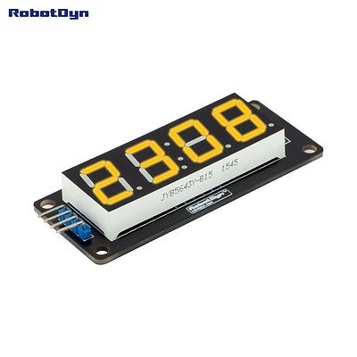LED display tube, 4 bits TM1637 driver, 4-Digit , 7-segments, YELLOW for Arduino