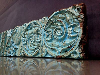 Antique/vintage Indian Hand-Carved Hardwood Panel. Turquoise, Classical Motif.