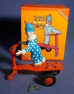 ROLI ZOLI Blech Roller Circus Clown Ungarn OVP vintage Tin Toy Scooter C161
