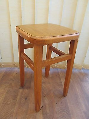 Wooden Kitchen Stool  Made in Romania  Drop in seat  Vintage 50s Furniture