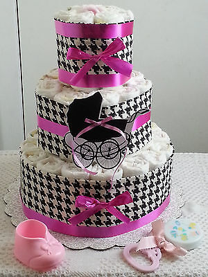 3 Tier Pink Black & White Houndstooth Diaper Cake Baby Shower Gift Centerpiece