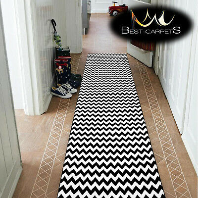 Modern Thick Hall Runner SKETCH ZIG ZAG black Width 80-120cm extra long Stairs