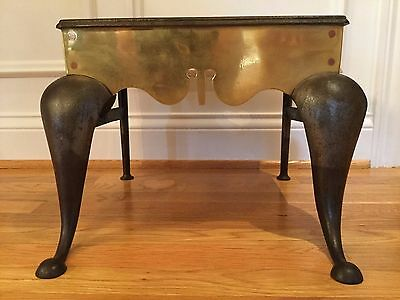 Antique 19th C Brass and Cast Iron Footman Hearth Trivet Table