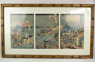 19th Cent. Japanese Triptych Naval Water Battle Scene w/ Text -Size error fixed