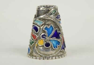 Antique Silver Thimble with Wirework and Enamel Detail
