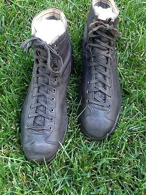 AWESOME Old Vintage Antique ALL Black Leather Football Shoes Spikes 1930s Cleats