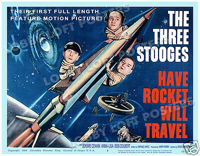 Have Rocket Will Travel Lobby Title Card Poster 1959 The Three Stooges