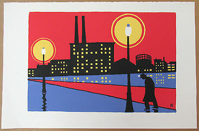 Fred Rosebury - Mid Century Color Serigraph - City Skyline - Listed Modernist