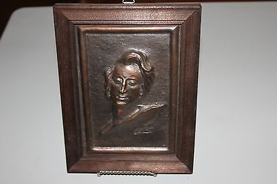 Vintage Copper Relief Portrait of Frederic Chopin mounted in simple Wood Frame