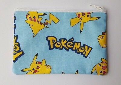 Pokemon Pikachu Blue Fabric Handmade Zippy Coin Purse Storage Pouch